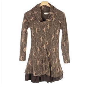 Anthto A'reve Star Print Cowl Neck Dress Small